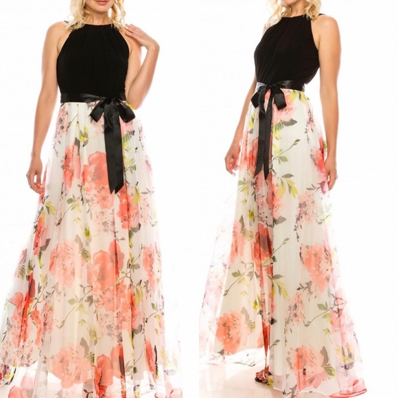 SLNY Dresses & Skirts - SLNY Formal Maxi Dress Fit & Flair Organza Skirt